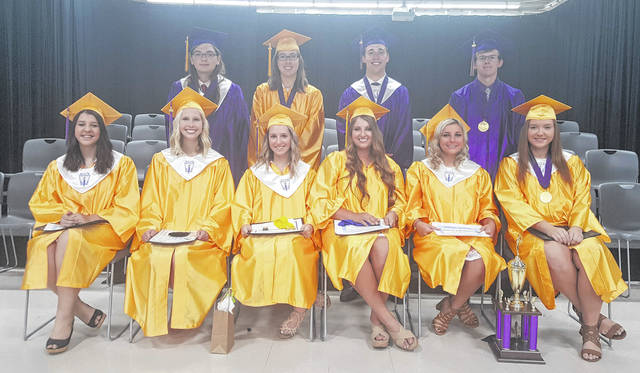 The Honorarians for the Southern High School Class of 2018 are (front, from left) Kendra White, Sailor Warden, Salutatorian Hannah Evans, Valedictorian Sydney Cleland, Jaiden Roberts, Miranda Greenlee, (back) Austin McKibben, Caitlin Theiss, Riley Roush and Jonah Hoback.