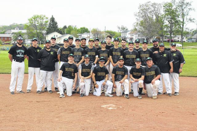 Members of the 2018 Eastern baseball team pose for a picture after sealing the outright TVC Hocking championship, with an 11-4 win over Southern on Friday in Racine, Ohio.