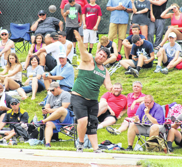 Eastern senior Tyler Davis releases an attempt during the second flight of the Division III shot put event held Friday afternoon at Jesse Owns Memorial Stadium in Columbus, Ohio.