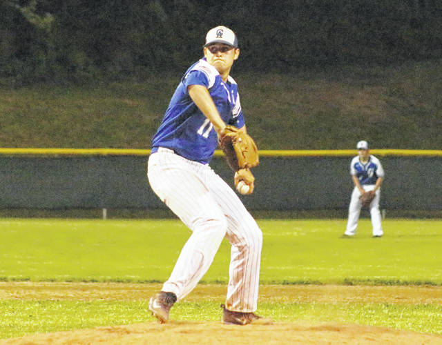 Gallia Academy junior Josh Faro prepares to release a pitch during a Division II Southeast District semifinal against Hillsboro on May 14 at Rannow Field in The Plains, Ohio.