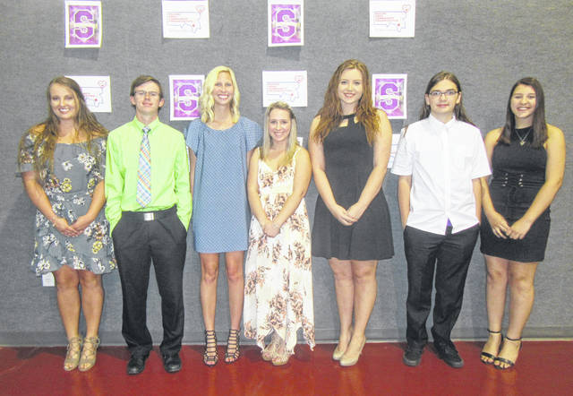 RACO Scholarship recipients for 2018 were (from left) Sydney Cleland, Jonah Hoback, Sailor Warden, Hannah Evans, Miranda Greenlee, Austin McKibben and Kendra White.