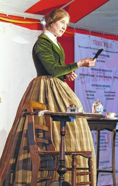"Susan Frontczak plays as ""Frankenstein"" author Mary Shelly during a previous Chautauqua performance in Gallipolis. She will return as Erma Bombeck this evening."