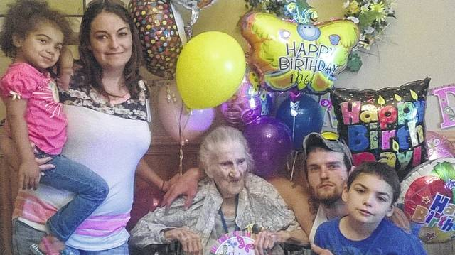 Lona Fetty Wamsley during a birthday with family members, including great-granddaughter Rylei Wamsley, granddaughter Jackie Wamsley, great-grandson Caiden Wamsley and grandson Logan Wamsley.