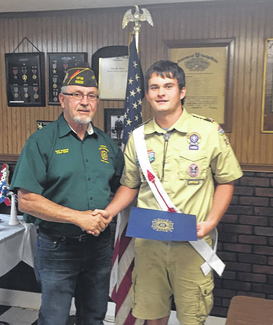 "Ryan Harbour, right, was recently presented the Eagle Scout certificate by the Stewart-Johnson V.F.W. Post 9926 for participating in the 2018 State of West Virginia Scout of the Year program. The certificate came from the State of West Virginia V.F.W. and was for ""outstanding achievement and exceptional leadership ability evidenced by his attainment of the rank of Eagle Scout."" Shown making the presentation is Commander Ray Varian. A member of Troop 235, Ryan is the son of Mike and Bobbi Harbour, and grandson of Danny and Diane Harbour, life members of the V.F.W. Post 9926 and auxiliary."