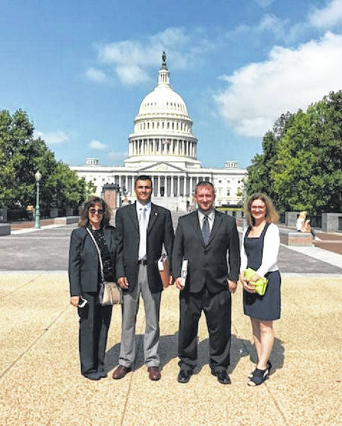 On their way to the next meeting, (from left to right) Gallia Assistant Engineer Beth Lozier, Gallia Engineer Brett Boothe, Community Improvement Corporation of Gallia County President Josh Bodimer and CIC member Tammy Brabahm, visit Washington DC to discuss Gallia's hopes to attain federal grants for a smart corridor project.