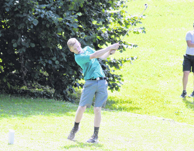 Trenton Peacock watches a drive attempt during a June 25 match at Meigs County Golf Course in Pomeroy, Ohio.