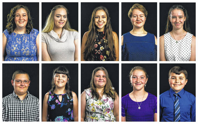 Ten Meigs County youth will vie for fair royalty titles for the 2018 Meigs County Fair. Pictured are (Top row) Queen candidates Gabrielle Beeler, Katelin Ferguson, Mattison Finlaw, Raeven Reedy, and Olivia Yost; (Bottom row) King candidate Austin Rose; Princess candidates Hannah Jackson, Melinda Lawson and Raeann Schagel; and Prince candidate Matthew Jackson.