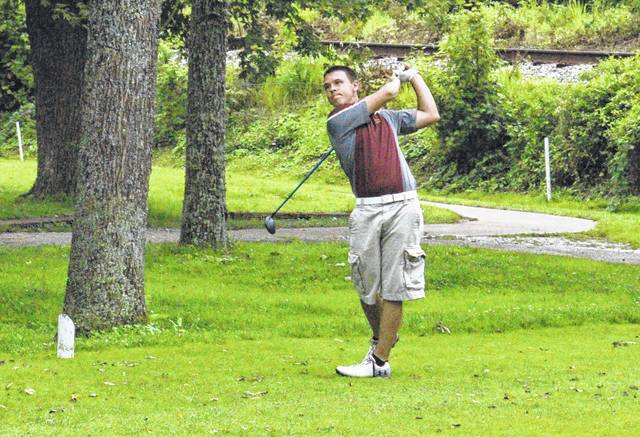 Meigs senior Levi Chapman watches a tee shot during the 2017 Waterford Invitational held at Lakeside Golf Course in Beverly, Ohio. Chapman was one of the many area golfers to participate in the 2018 Capehart Junior Golf League finale on Monday at Riverside Golf Course.