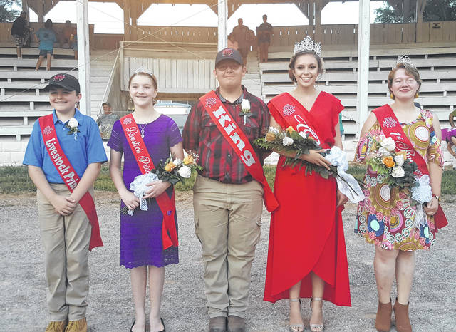 Mattison Finalw was crowned the 2018 Meigs County Fair Queen and Austin Rose the 2018 Meigs County Fair King during the opening ceremonies of the 155th Meigs County Fair on Sunday evening. Joining Finlaw and Rose in the fair court are Queen First Runner-Up Raeven Reedy, Livestock Princess Raeann Schagel and Livestock Prince Matthew Jackson. Pictured, from left, are Jackson, Schagel, Rose, Finlaw and Reedy. Complete coverage of the opening ceremonies, including the crowning of the fair royalty will appear in the Tuesday edition of <em>The Daily Sentinel</em> and online at mydailysentinel.com.