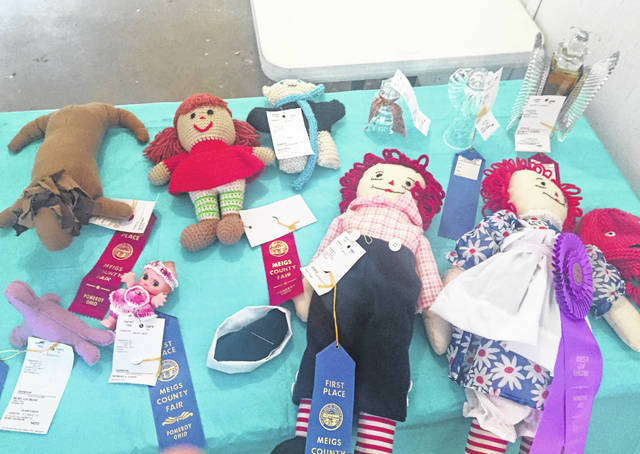 Shirley Hamm took the top prize for her Raggedy Ann and Andy dolls.