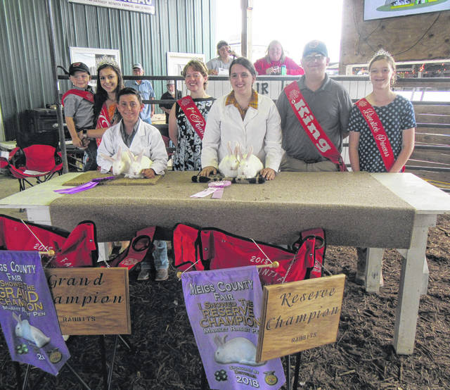 Grand Champion Brycen Rowe (left) and Reserve Champion Hanna Bottomley (right) are pictured with Meigs County Fair Royalty, Little Mister Reece Davis, Queen Mattison Finlaw, First Runner-Up Raeven Reedy, King Austin Rose, and Livestock Princess Raeann Schagel.