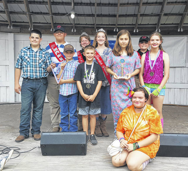 Participants in the Meigs County's Got Talent competition at the 155th Meigs County Fair showcased their musical and dancing talents, taking home medals and a trophy for their accomplishments. Participants included medal winners Mitchel Evans and Wyatt Smith (guitar and singing); Erin McKibben (dance); and Maveryk Lisle (singing). Samantha Eblin received a ribbon for her singing performance, while Madison Chapman was the best overall for her singing performance. Also pictured are Meigs County Fair Royalty King Austin Rose, First Runner-Up Raeven Reedy, Livestock Princess Raeann Schagel and Livestock Prince Matthew Jackson.