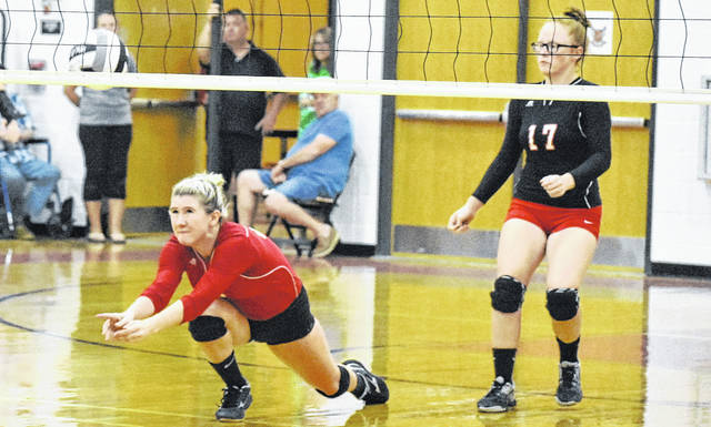 SGHS senior Rachal Colburn (6) attempts a dig during the Lady Rebels' Tri Valley Conference Hocking Division contest against Wateford on Tuesday night in Gallia County.
