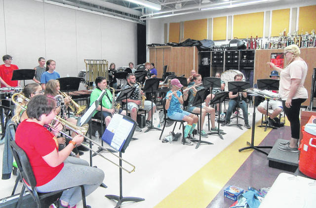 Band Director Audra Wilkinson leads the Southern Marching Band during Band Camp last week.