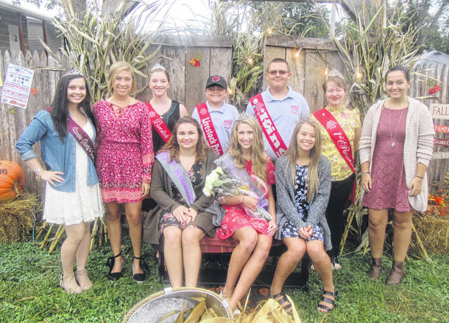 The Party in the Park royalty and court are pictured with Meigs County Fair Royalty in attendance at the event. Pictured are (seated from left) Party in the Park First Runner-up Kayla Boyer, Queen Marissa Brooker, and candidate Peyton Anderson; (standing from left) 2017 Party in the Park Queen Nikita Wood; candidate Madison Lisle, Fair Livestock Princess Raeann Schagel, Livestock Prince Matthew Jackson, Fair King Austin Rose, Fair First Runner-up Raeven Reedy, and candidate Tori Chaney.
