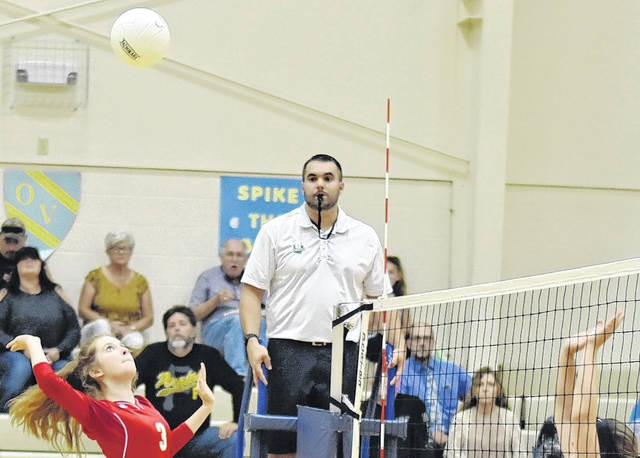 SGHS junior Katie Bowling (3) attempts a spike during the Lady Rebels victory over OVCS on Monday in Gallipolis, Ohio.