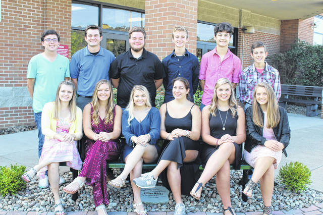 Eastern High School Homecoming will be held Sept. 21 and 22. The game and queen crowning will take place Friday, Sept. 21 against South Gallia with kickoff at 7:30 p.m. and the Homecoming Dance will be held from 8-11 p.m. on Saturday, Sept. 22, at the high school. Pictured are (front, from left) Queen Candidates:Ally Durst, Kelsey Casto, MacKenzie Smith; Junior Attendant: Caterina Miecchi; Sophomore Attendant: Avary Mugrage; Freshman Attendant: Megan Maxon; (back, from left) Queen Escorts: Garrett Rees, Ryan Harbour, John Harris; Junior Escort: Colton Reynolds; Sophomore Escort: Matthew Blanchard; and Freshman Escort: Brogan Holter.