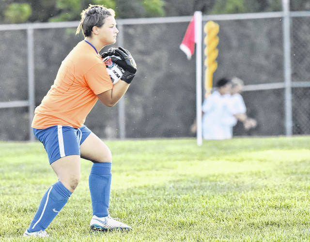 GAHS goalkeeper Alexis Nickels makes a save during the Blue Angels 7-1 victory over Piketon on Thursday in Centenary, Ohio.