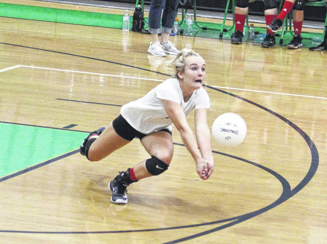 Point Pleasant junior libero Peyton Jordan dives for a dig attempt during Game 2 of Thursday night's volleyball match against the host Lady Generals in Winfield, W.Va.
