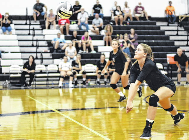 RVHS senior Rachel Horner (5) attempts a dig during the Lady Raiders setback to Vinton County on Tuesday in a Tri Valley Conference Ohio Division contest in Bidwell, Ohio.