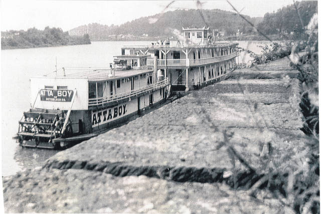 This undated photo from the collection of Bob Graham shows the sternwheelers Attaboy and Majestic moored on the Ohio River, at Pomeroy, Ohio. Several of Graham's photos, including additional photos of sternwheelers, are available for viewing at the Meigs County Historical Society and on the Meigs County Library website. Sternwheelers are expected to be along the Pomeroy riverfront later this week as part of the Pomeroy Sternwheel Regatta.