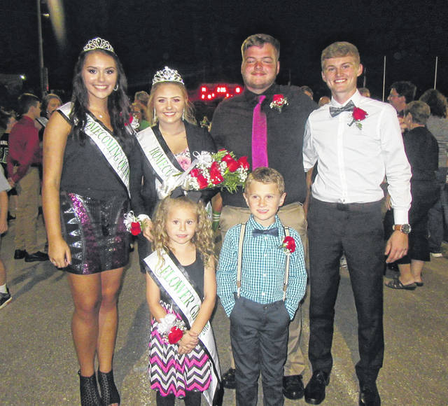 MacKenzie Smith was crowned the 2018 Eastern High School Homecoming Queen during halftime of Friday evening's football game against South Gallia. Smith, second from left, is pictured with (back, from left) 2017 Queen Morgan Baer, Smith's escort John Harris, Baer's escort Owen Arix, (front, from left) flower girl Jessa Hill and crown bearer Colton Atha.