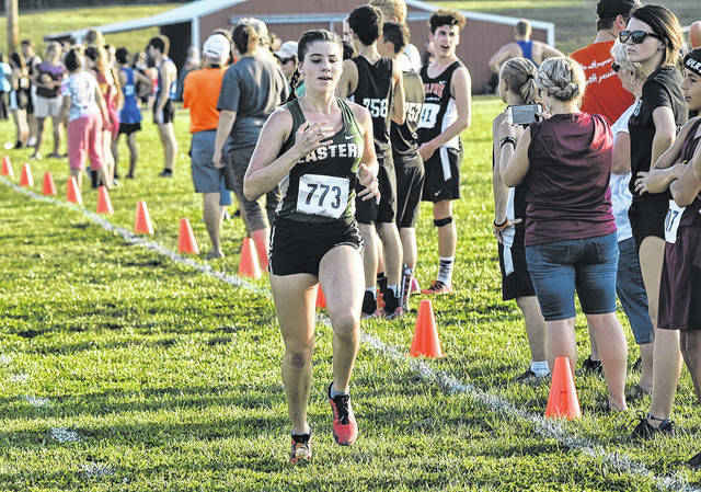 Eastern's Rhiannon Morris strides toward the finish line at the Federal Hocking Invitational on Sep. 19 in Stewart, Ohio.