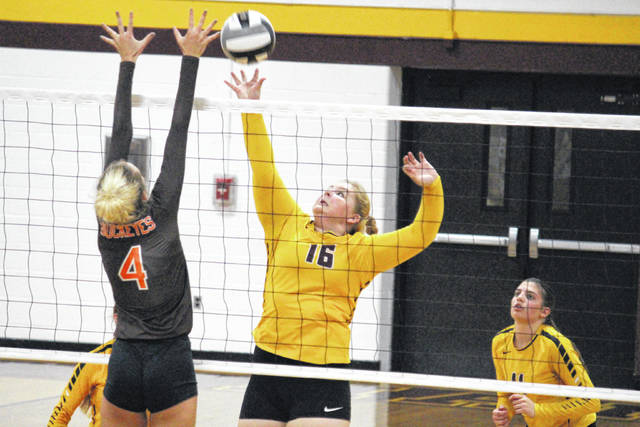 Meigs senior Savannah Zeigler (16) tips the ball over a NYHS defender, during the Lady Buckeyes' win on Tuesday in Rocksprings, Ohio.