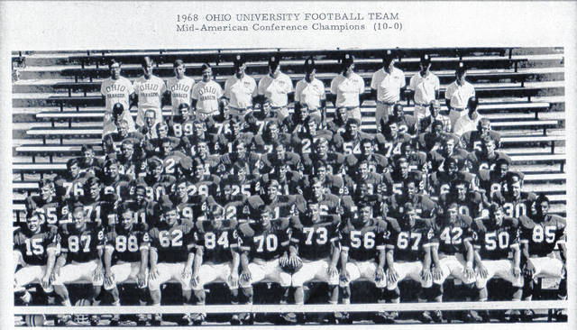 The 1968 Mid-American Conference champion Ohio University Football Team will be honored this weekend during the Ohio University football game in Athens as the team hosts UMass for a 2 p.m. kickoff. The team completed an undefeated 10-0 season en route to a Tangerine Bowl appearance. Pomeroy High School graduates Phil Swindell (No. 84, front row) and Carson Crow (No. 51, third row middle) were starters on the team and will be among those honored this weekend. Ohio placed 10 players on the All-MAC team that season, including Swindell, who was named to the second team as a tight end. Crow, a center, would be voted the Most Valuable Player by his teammates for the 1970 season. 1968 was the last MAC title for the Bobcats.