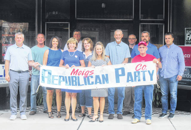 The Meigs County Republican Party held it's Headquarters opening on Friday with a visit from Fran DeWine, wife of Governor candidate Mike DeWine, and LeeAnn Johnson, wife of Congressman Bill Johnson. Pictured are (from left) Court of Appeals candidate Mike Hess, Board of Elections member Jimmy Stewart, Clerk of Courts Sammi Mugrage, Fran DeWine, Brett Jones, Auditor Mary Byer-Hill, LeeAnn Johnson, Commissioner Tim Ihle, EMS/911 Director Robbie Jacks, Republican Chairman Bill Spaun, Commissioner Randy Smith and State Rep. Jay Edwards.