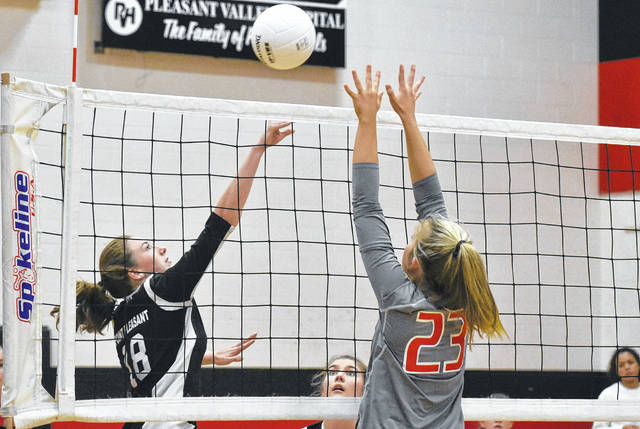 PPHS freshman Addy Cottrill prepares to serve during the Lady Knights victory over Poca on Thursday in Point Pleasant, W.Va.