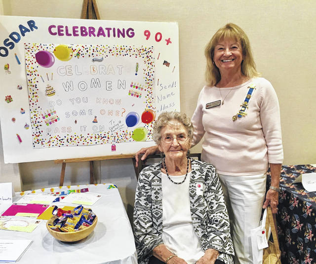 Local DAR member and registrar Opal Grueser heads the state 90+ committee, sending birthday cards to DAR members who are 90 years old or above. She was responsible for setting up an informational display at the fall fair this year.