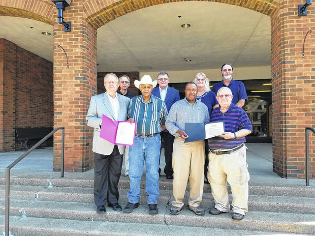 Gallia County and Gallipolis City Commissioners presented proclamations to the Gallia County Emancipation Celebration Board proclaiming the weekend of Saturday, Sept. 22, and Sunday, Sept. 23, as the 2018 155th Emancipation Celebration Weekend in Gallia County and Gallipolis. The Celebration will be held at the Gallia County Junior Fairgrounds. From left to right are Gallia County Commissioner Harold Montgomery, Emancipation Vice-Pres. Glenn Miller, Emancipation President Andy Gilmore, Gallipolis City Commissioner Tony Gallagher. Second Row from left to right are Gallia County Commission President David Smith, Gallia County Commission Vice-Pres. Brent Saunders, Gallia County Administrator & Emancipation Treasurer Karen Sprague, Emancipation Board member John Grubb.