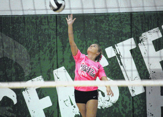 Eastern senior Alexus Metheney delivers a serve, during the Lady Eagles' victory over Wahama on Monday in Tuppers Plains, Ohio.