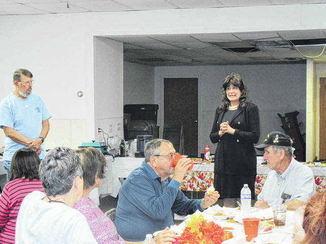 Democratic candidate for the 4th District Court of Appeals Valarie Gerlach addressed the Meigs County Democrats at their fall spaghetti dinner last week.