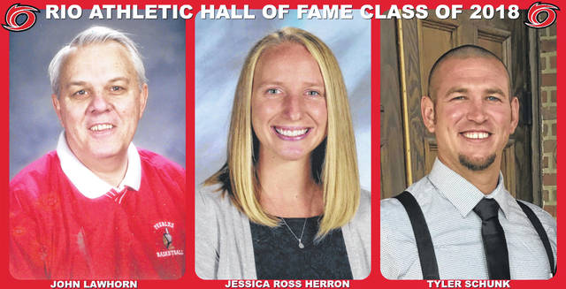 Pictured, from left, are John Lawhorn, Jessica Ross Herron and Tyler Schunk, the trio that will be inducted into the University of Rio Grande Athletic Hall of Fame for 2018.