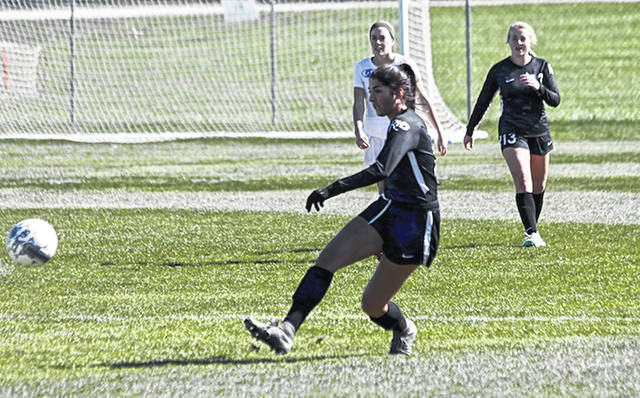 Rio Grande's Rachel Haddad had the first of the RedStorm's two goals in Thursday's 2-2 tie with Ohio Christian University at Trailblazer Field in Circleville, Ohio.