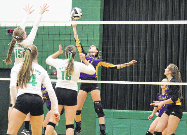 Southern sophomore Jordan Hardwick (11) attempts a spike during the Lady Tornadoes' sectional final setback on Thursday in Waterford, Ohio.