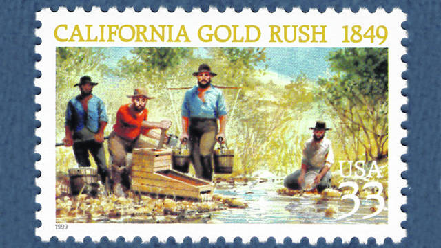 A stamp depicts a scene from the California Gold Rush