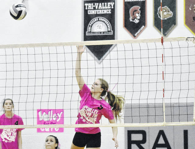 RVHS senior Rachel Horner attempts a spike during the Lady Raiders 3-1 match victory over South Gallia on Monday in Bidwell, Ohio.