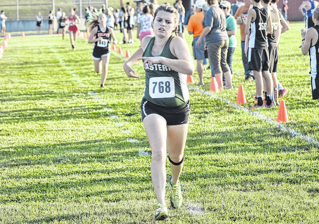 Eastern's Ally Durst strides toward the finish line at the Federal Hocking Invitational on Sep. 19 in Stewart, Ohio. (Scott Jones|OVP Sports)