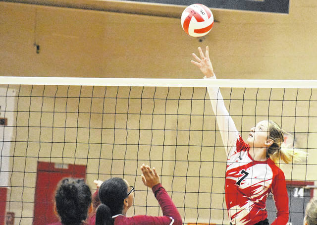 Wahama sophomore Emma Gibbs (7) attempts a spike during the Lady Falcons setback to Federal Hocking on Thursday night in Mason, W.Va.
