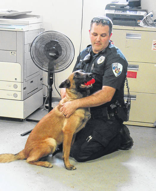 Officer Shannon Smith and K9 Bonnie were introduced on Friday at the Middleport Police Department.