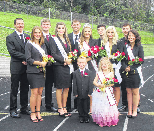 The 2018 Meigs High School Homecoming Court included, (front, from left) Crown Bearer Luke Roush and Flower Girl Sophie Reynolds; (middle, from left) Lydia Edwards, Kassidy Betzing, Queen Taylor Swartz, Jenna Marshall and Hayley Lathey; (back, from left) Cole Durst, Matthew Jackson, Harley McDonald, Carter Smith, and Evan Hennington.