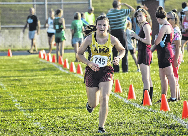 Meigs senior Madison Cremeans approaches the finish line at the Federal Hocking Invitational on Sep. 19 in Stewart, Ohio.