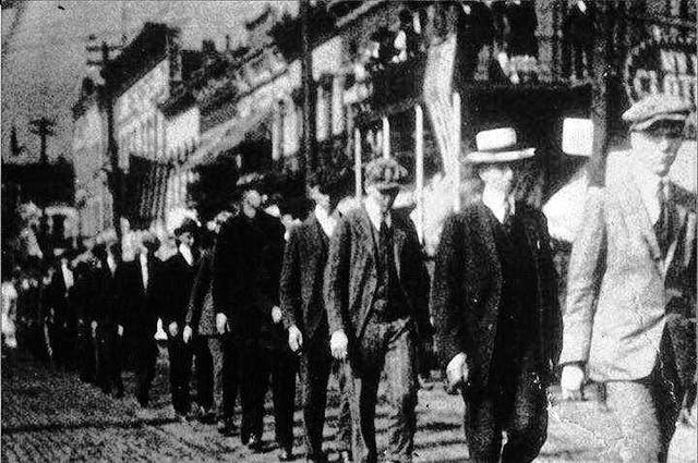 Men in Meigs County marching off to serve in World War I.