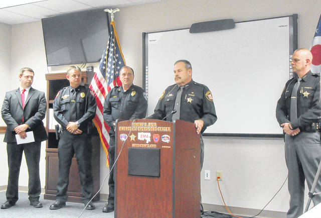 Meigs County Sheriff Keith Wood speaks during a press conference on Thursday regarding the Gallia-Meigs Task Force. Also pictured, from left, are Meigs County Prosecutor James K. Stanley, Gallipolis Police Chief Jeff Boyer, Middleport Police Chief Bruce Swift and Gallia County Sheriff Matt Champlin.