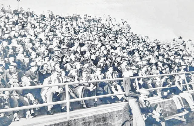 "Seventy years ago this was the scene on Thanksgiving Day at Yellow Jacket Stadium in Middleport as the Yellow Jackets hosted their rivals the Pomeroy Panthers. For more on the rivalry between the two high schools, read Jordan Pickens' ""As the old Ohio flows…"" column inside today's edition and online at mydailysentinel.com."