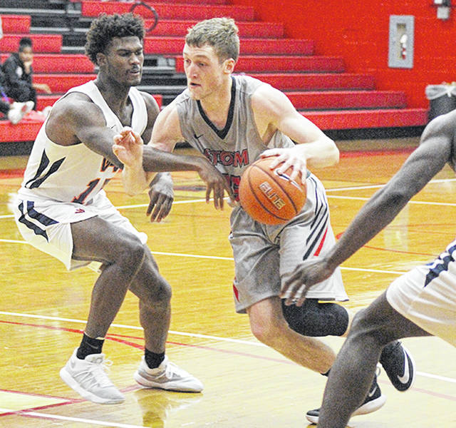 Rio Grande's Cameron Schreiter scored a career-high 22 points to lead the RedStorm past Washington Adventist University, 65-62, in Saturday's final round of the Bevo Francis Classic at the Newt Oliver Arena.
