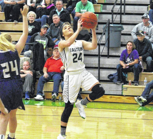 Eastern senior Alyson Bailey goes for a layup in the second half of the Lady Eagles' 50-44 victory on Thursday in Tuppers Plains, Ohio.